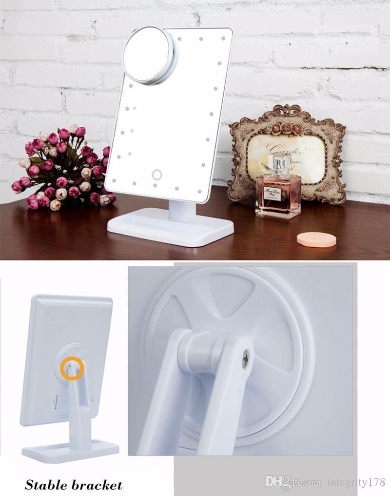 2018 nouveaux arrivants LED Cosmétique Miroir Grande Table 20 LEDs Lumineux Carré Maquillage LED Miroir Noir Blanc Rose
