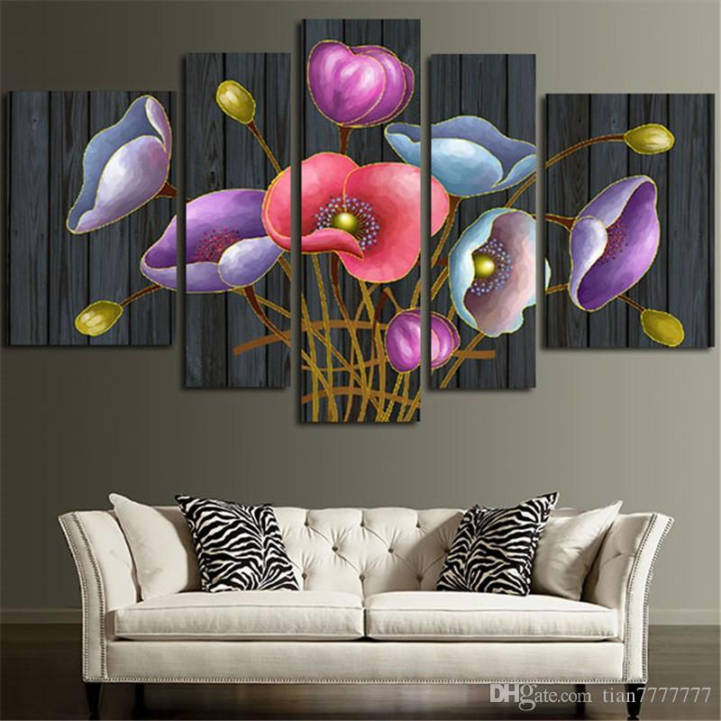 New Colorful Flowers 5 panel Canvas Painting Modular Printed Pictures for Home Wall Decor No Frame Drop shippig