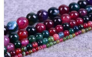 Granos de piedra natural Ágata turmalina Granos redondos productos semiacabados DIY Para la fabricación de joyas 8 10 mm directo de fábrica