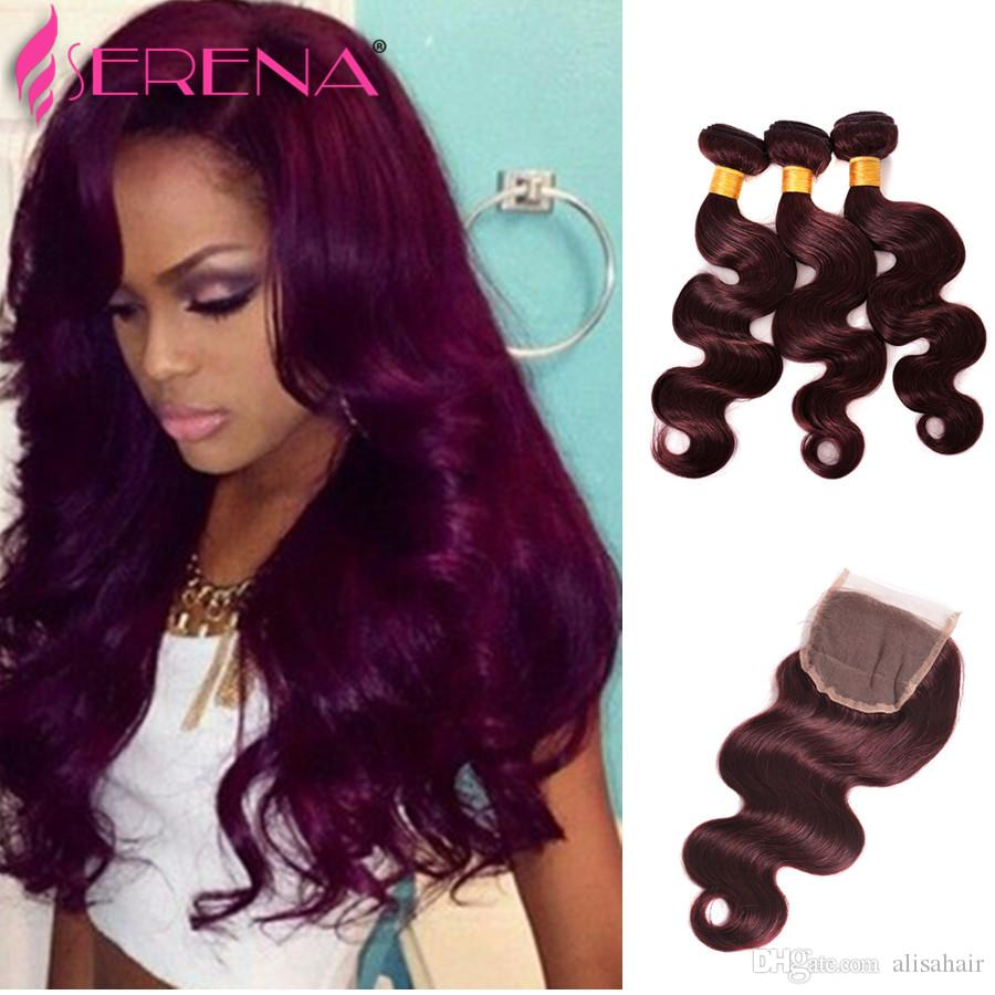 2018 Burgundy Brazilian Hair Weave With Closure Red Wine Brazilian
