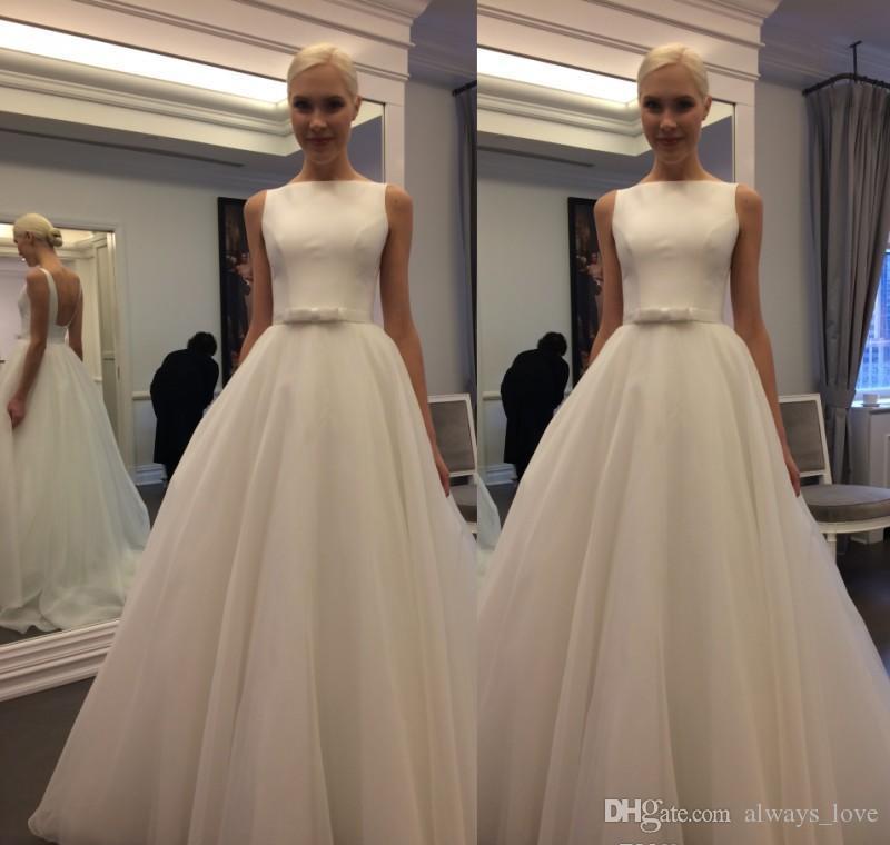 2017 Günstige Französisch Stil Eine Linie Brautkleid Juwel Hals mit Schärpe Sleeveless Brautkleid Nach Maß Plus Größe