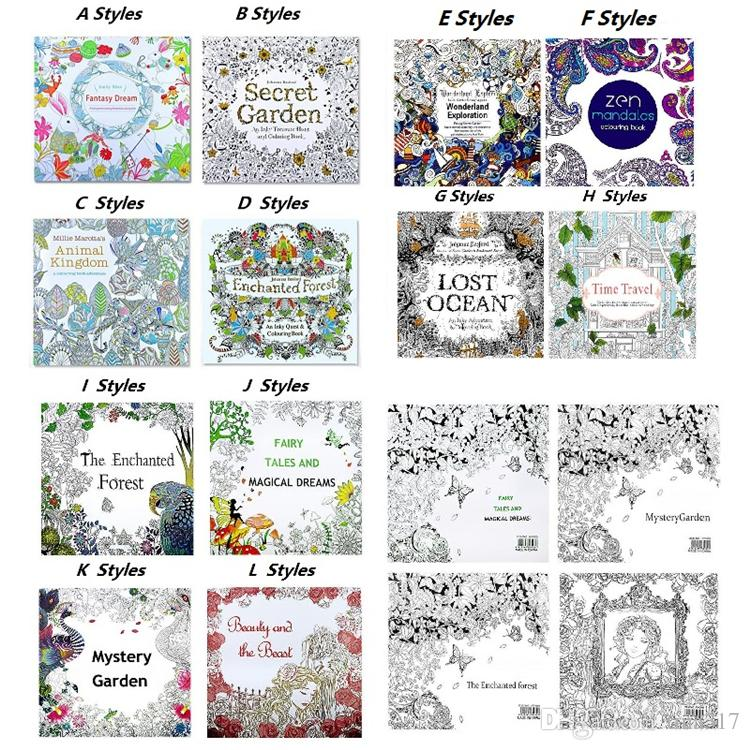 New Secret Garden Animal Kingdom Enchanted Forest Coloring Book Treasure Hunt Adult Kid Stress Relieve Creative Doodling Drawing Books 2186 Kids Colour