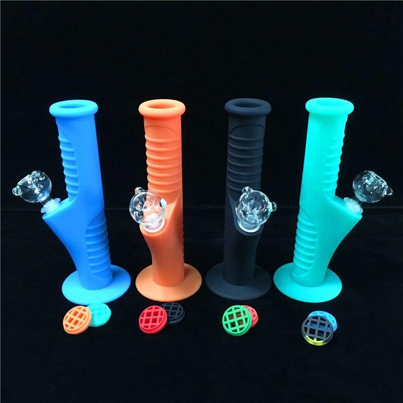9.5 дюймов мини силиконовые бонги 10 цветов со стеклом устанавливает водопроводные трубы нерушимые бонги барботер стекла Бонг