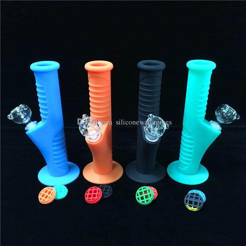 pipa de silicona DAB tubería plataforma pipas de fumar 9,5 pulgadas Diez Colores Con 14.mm de cristal Conjunto establece Pipas de agua de tubería irrompible Bongs pelele