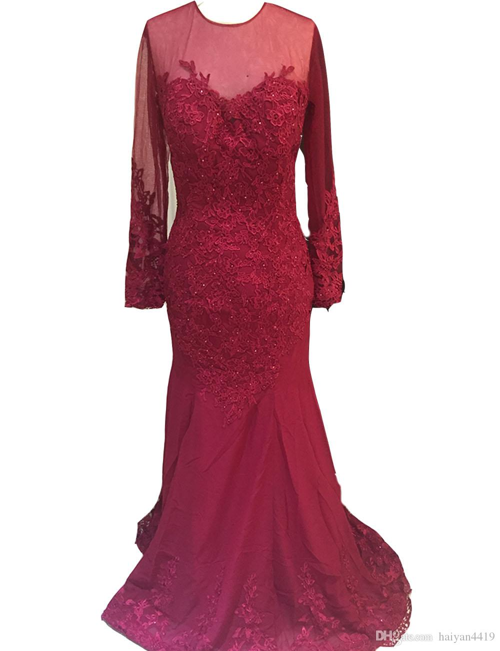 2017 Cheap Prom Dresses Jewel Neck Mermaid Burgundy Chiffon With Lace Appliques Beaded Long Sleeves Evening Dress Party Pageant Formal Gowns