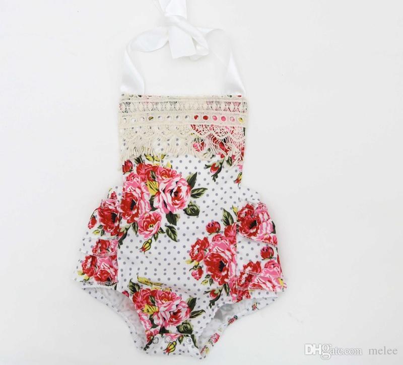 Neugeborenen 2017 INS Mädchen Baby floral Strampler Baumwolle Spitze Jumper Kleinkind Babys onesies Stoff Blumen Strampler Infant Kleidung Ohne Stirnband