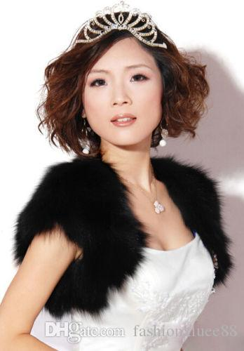 Faux fur shawl Black warm bridesmaid shawl jacket black shrug stole wrap Women Mother Prom Girl Bride Accessories