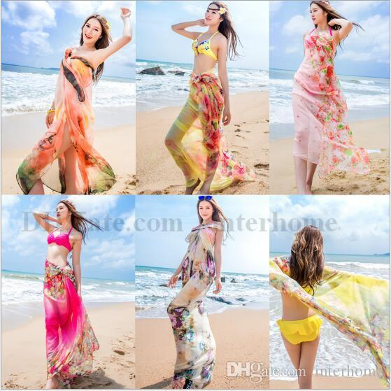 b23b7c18d6e31 2019 Women Floral Bikini Cover Ups Print Sexy Pareo Beach Dress Bohemian Sarong  Chiffon Beach Bikini Wrap Swimwear Scarf Shawl Braces Skirt B1648 From ...