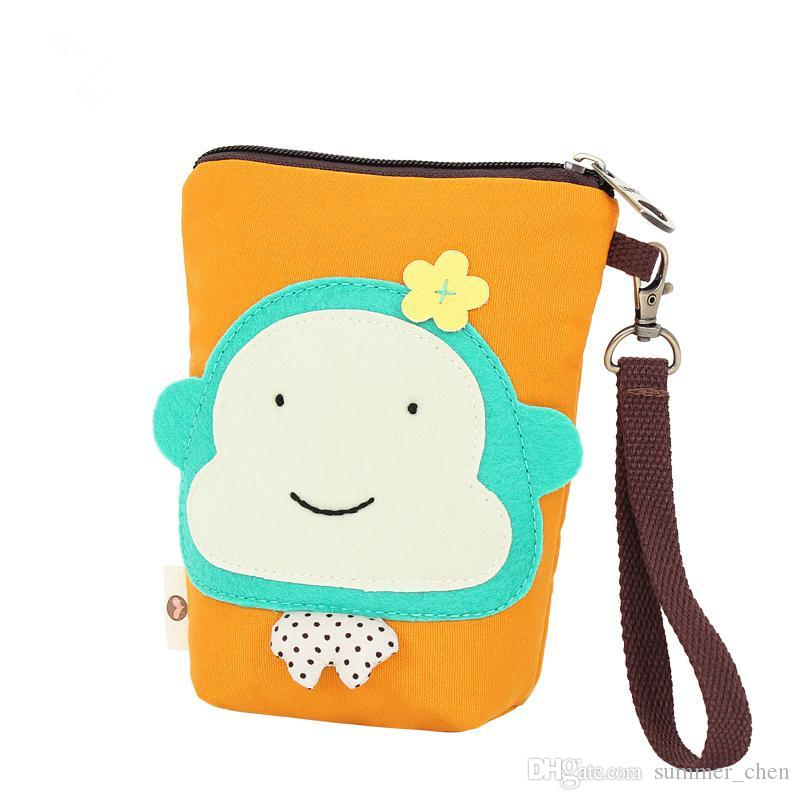 Cartoon Monkey women small storage bags for key card phone coin purse practical canvas daily little bags travel accessories