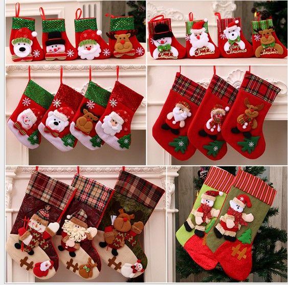 christmas stocking sequin socks gifts sacks candy bags cartoon stockings christmas tree decor santa claus snowman elk bear xmas stockings xmas ornaments on