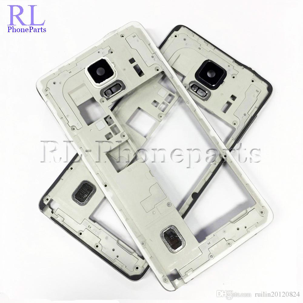 10pcs/lot White Black For Samsung Galaxy Note 4 N910F N910A N910T Bezel Plate Middle Frame Housing Per Buzzer Camera Lens
