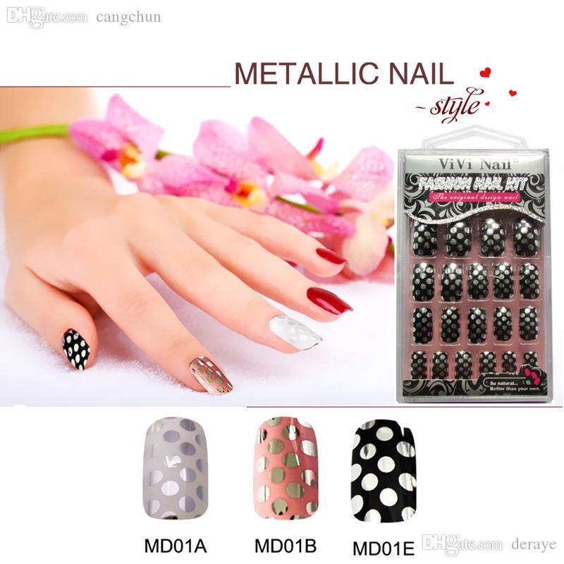 Wholesale Adhesive Metallized Full Cover False Nails Fashion Luxury ...