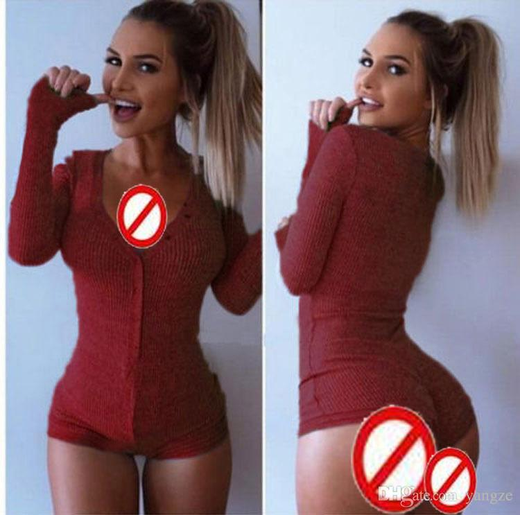 Hot Sexy Women V-neck Jumpsuit Rompers Clubwear One-piece Rompers Long Sleeves Slim Thin Basic Thermal Jumpsuit Rompers Outfit WY7824