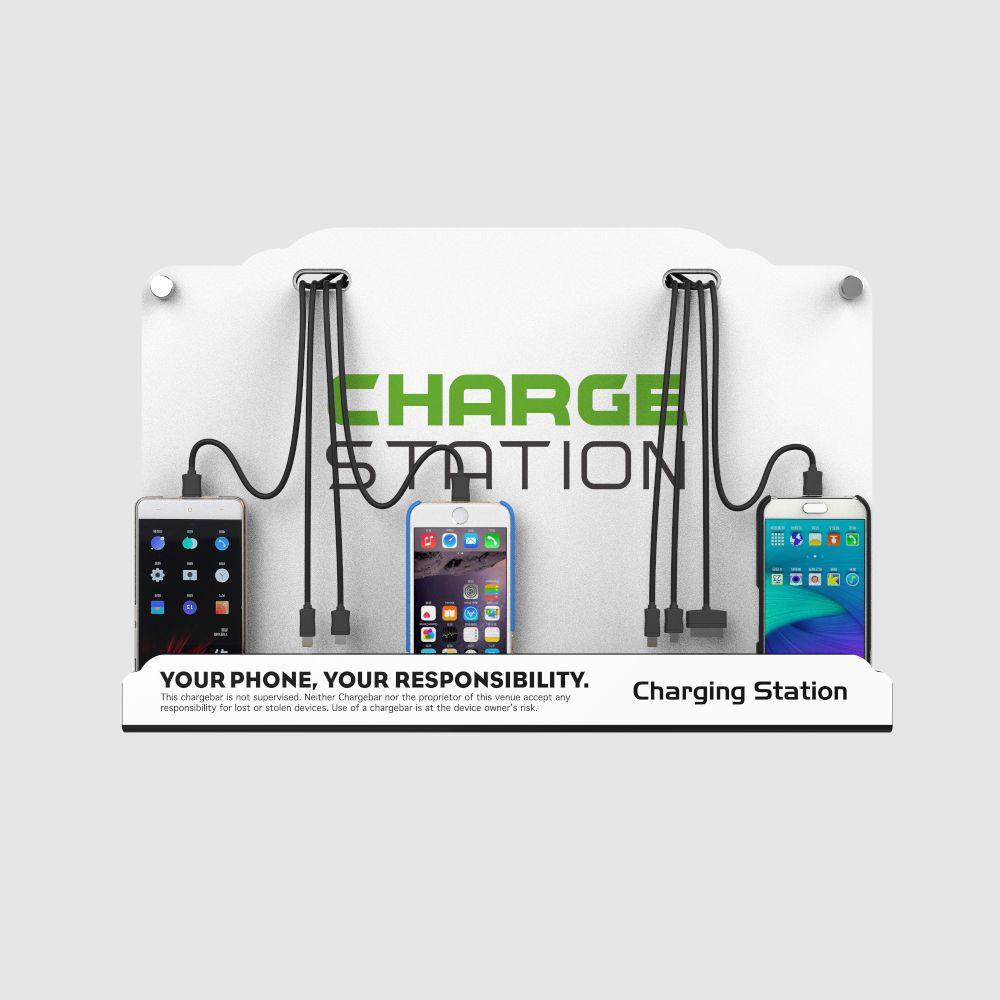 Estación de carga de teléfono celular en la base Dock Hub con 8 cables universales de alta velocidad para todos los dispositivos: iPhone, iPad, Samsung Galaxy, tabletas. F