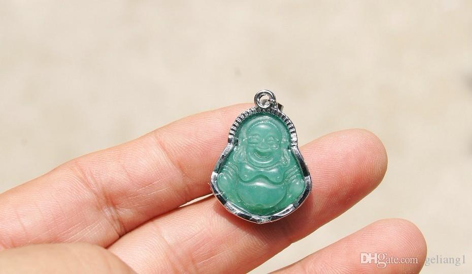 Freies Verschiffen, archaize Legierungseinsatz, grüner Jadeamulett Maitreya-Halskettenanhänger