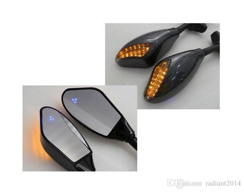 Espejo integrado de la señal de giro del carbono de la motocicleta para YAMAHA YZF-R1 R1 1998 1999 2000 2001 R6S R6 LED ESPEJOS DE SEÑAL DE GIRO
