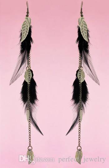 Feather Earrings wholesale Bronze Leaf Charm Chain Light Dangle Eardrop Deep Pink Orange Army Green Turquoise PurpleJF120