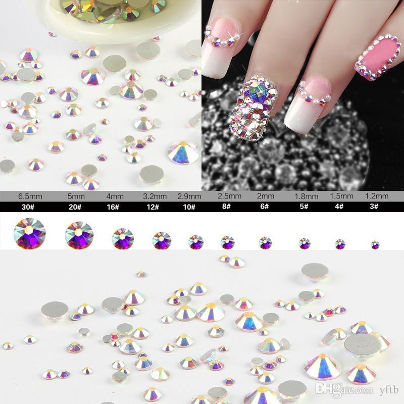 Sale! Super 10garm/Bag Mix Sizes Crystal Ab Round Nail Art Stickers ...