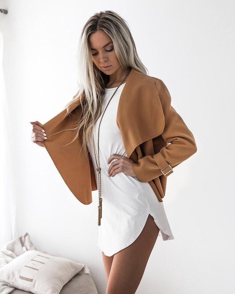Women's Autumn Winter Plain Lapel Long Sleeve Cardigan Woolen Sweater Loose outfit clothing Vestidos Size: S M L XL DY17703
