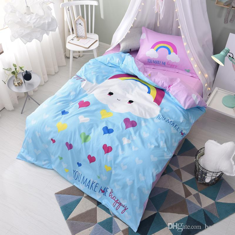Cartoon Cloud Rainbow Heart 100% Cotton Twin Size Bedding Sets Comforters  Pillow Shams Bed Sheets Quilts Covers Children Teen Christmas Gift Bedding  Sets ...