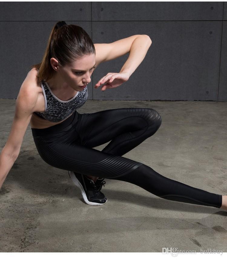 Sereia Curva GINÁSIO Mulher Aptidão Leggings de Fitness Velocidade Calças de Corrida Calças de Yoga Colorido Raia Elástica Esportes Legging Mulheres