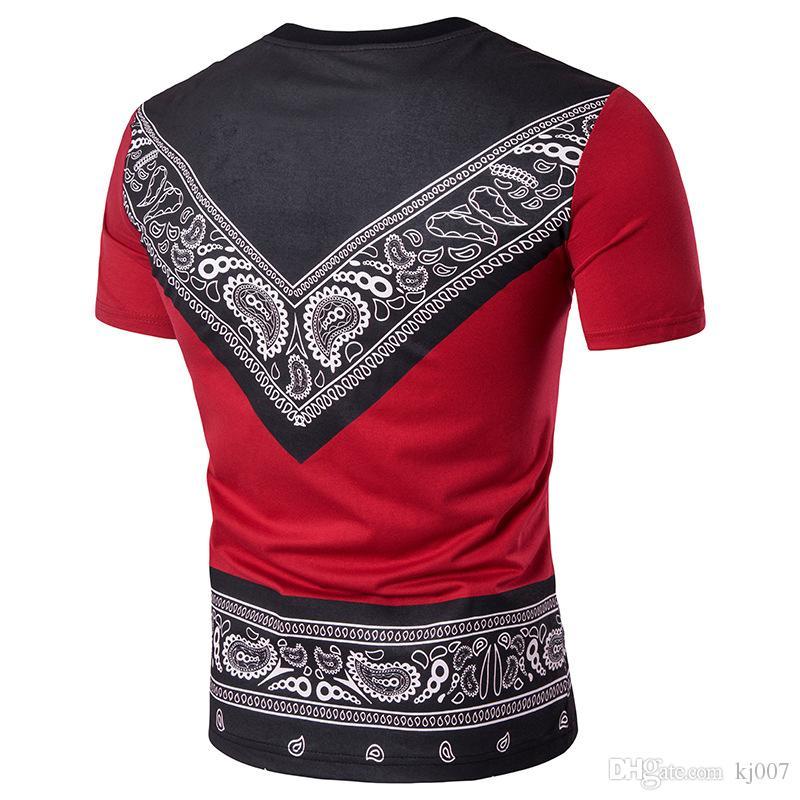 Maglietta della Boemia di Bandana l'abbigliamento del manicotto del bicchierino-manicotto della maglietta di Paisley del cotone di modo di estate degli uomini che spedice liberamente