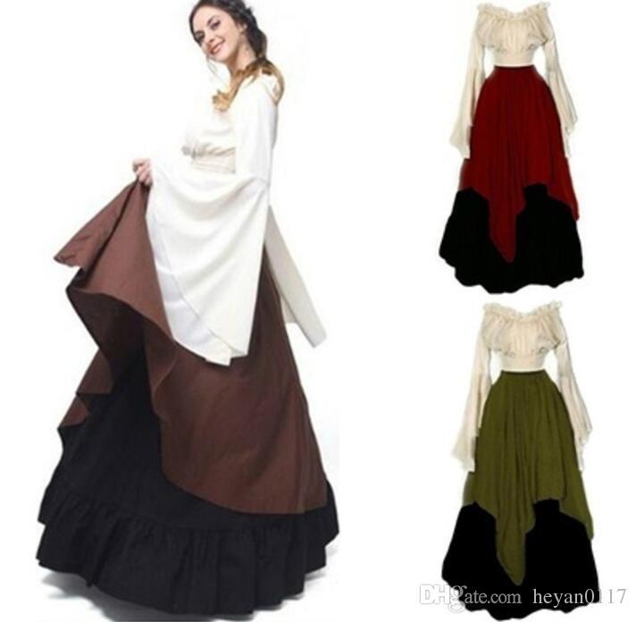 Vintage Épaule Acheter Médiévale Renaissance Style Robe Femmes Rouge EIbH9eWD2Y