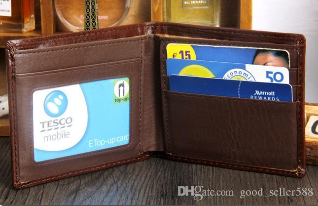 2017 새로운 빈티지 PU 남성 지갑 미세 Bifold 브라운 블랙 PU 가죽 신용 카드는 남성의 지갑을 배 트라이 쿨 A086