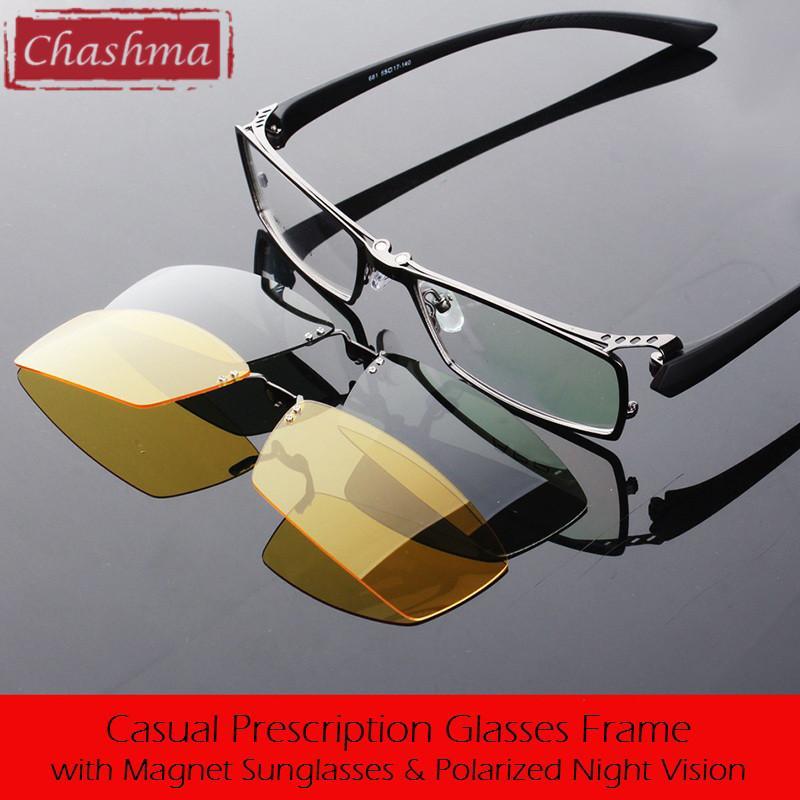dc04e7fa9c0f2 Compre Atacado Chashma Dia E Noite De Condução Polarizada Clipe Óculos De  Sol Óculos De Qualidade Óptica Mopia Frame Óculos Masculino De Tonic