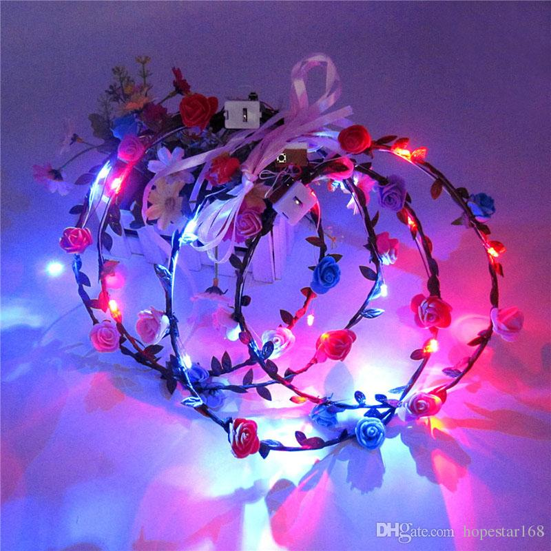 Learned Led Flashing Flower Headband Garland Women Girls Lighted Floral Hairband Glow Party Wedding Decoration Christmas Halloween Event & Party
