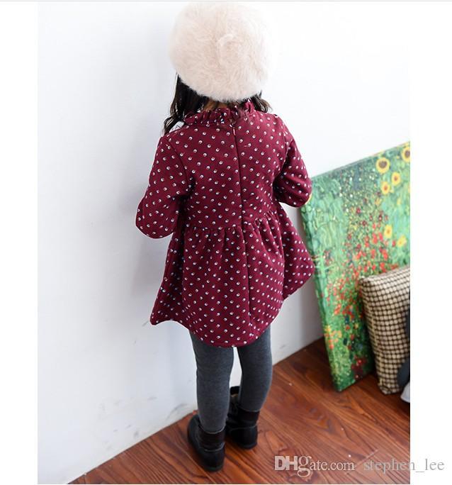 Retail 2017 Autumn Winter Girls Princess Dress Baby Girl Thicken Warm Dresses Kids Long Sleeve Dress Korean Style Children Dress 100-140cm