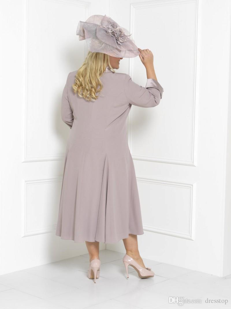 Plus Size Mutter der Brautkleider Ärmel Tee Länge Schaufel Hals Hochzeit Gast Kleid Benutzerdefinierte Mütter Bräutigam Kleid mit freier langen Jacke