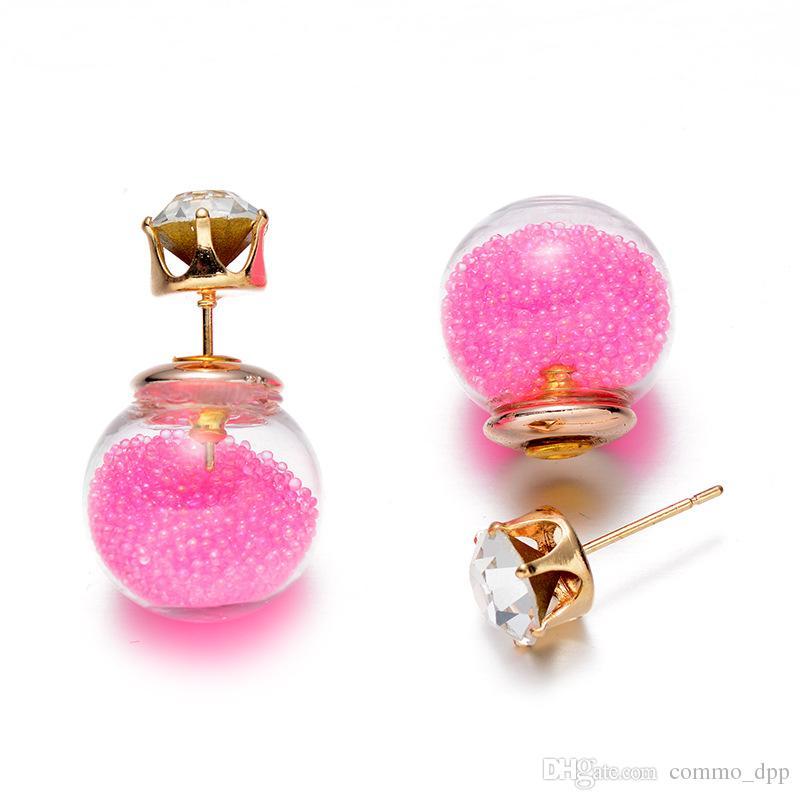 Vendita calda bifacciale perle donne orecchini trasparente Vetro Cubic Zirconia CZ orecchini gioielli di colore della caramella Quicksand gioielli di moda