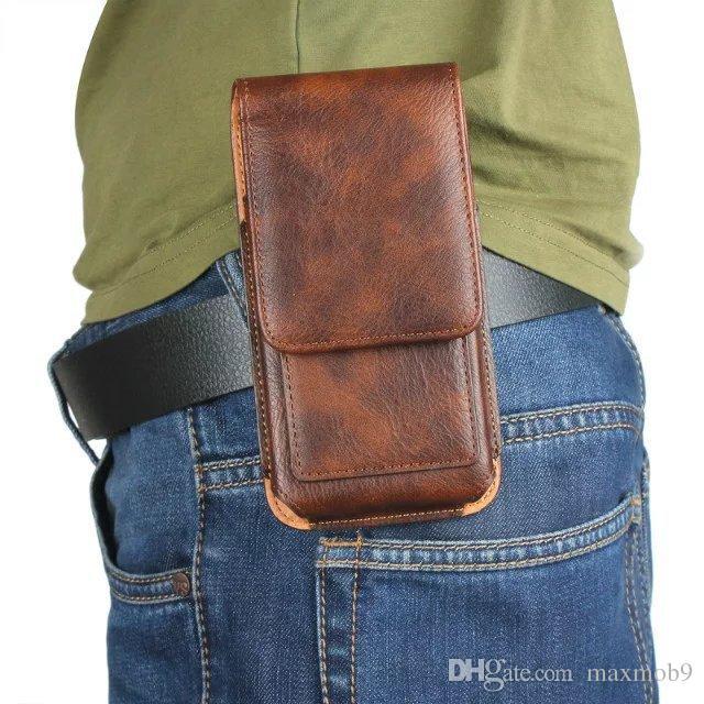 Luxo universal coldre belt clip cintura homem flip leather case capa bolsa saco de telefone celular case para iphone 6 s 7 8x plus samsung s8 s9 além de
