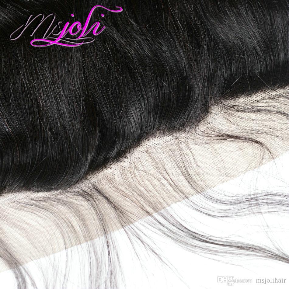 El pelo virginal peruano teje extensiones con 13x4 encaje frontal recto oreja a oreja Sin procesar Cierre recto con paquetes 3 + /