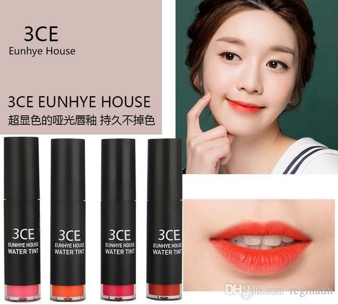 3CE 방수 립 스틱 모이스처 라이저 매트 립스틱 한국 화장품 누드 메이크업 입술을 쉽게 오래 착용 도매 2016 새로운 브랜드