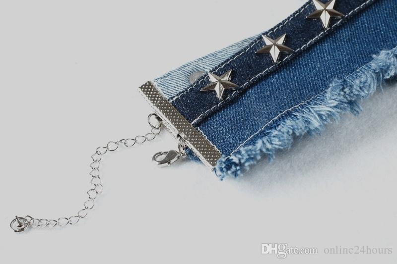 Denim Donna Accessori abbigliamento Accessori Stelle Collana girocollo Collana pendenti con frangia vintage 2017 Summer Beach Night Club Denim Collana
