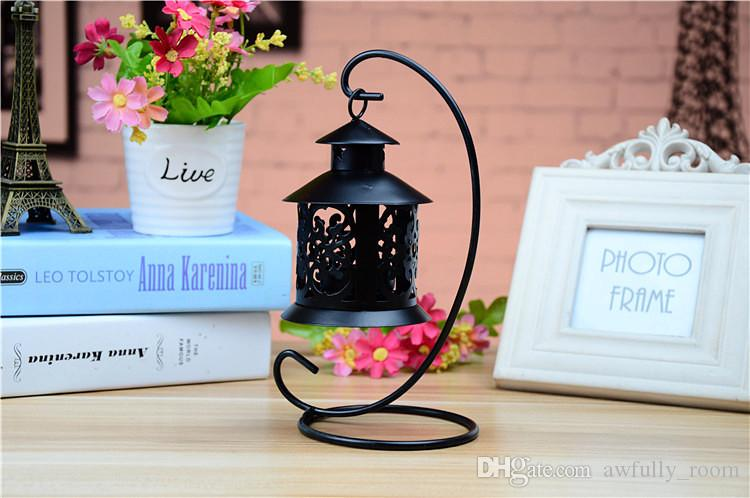 Wedding Festival small house wrought iron candlestick Creative european-style storm lantern home decor candle holders crafts ornament