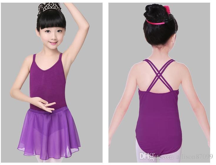 Justaucorps pour filles Gymnastique Ballet Combinaison Danse Combinaison Danse Double sangle Enfants Sans Manches Enfants Coton Livraison gratuite et gratuite