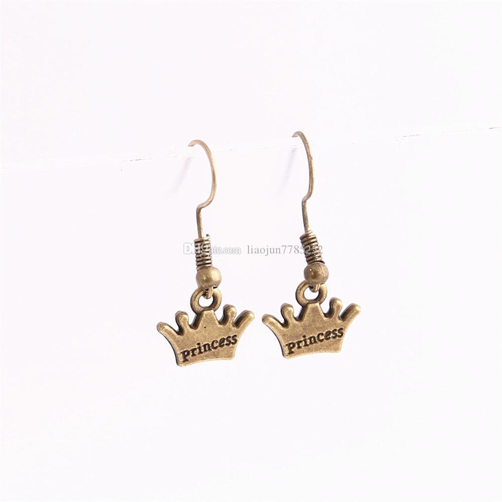 20 teile / los Metall Legierung Zink Antike Bronze Silber Prinzessin Crown Anhänger Charme Droping Earing Diy Schmuckherstellung C0683