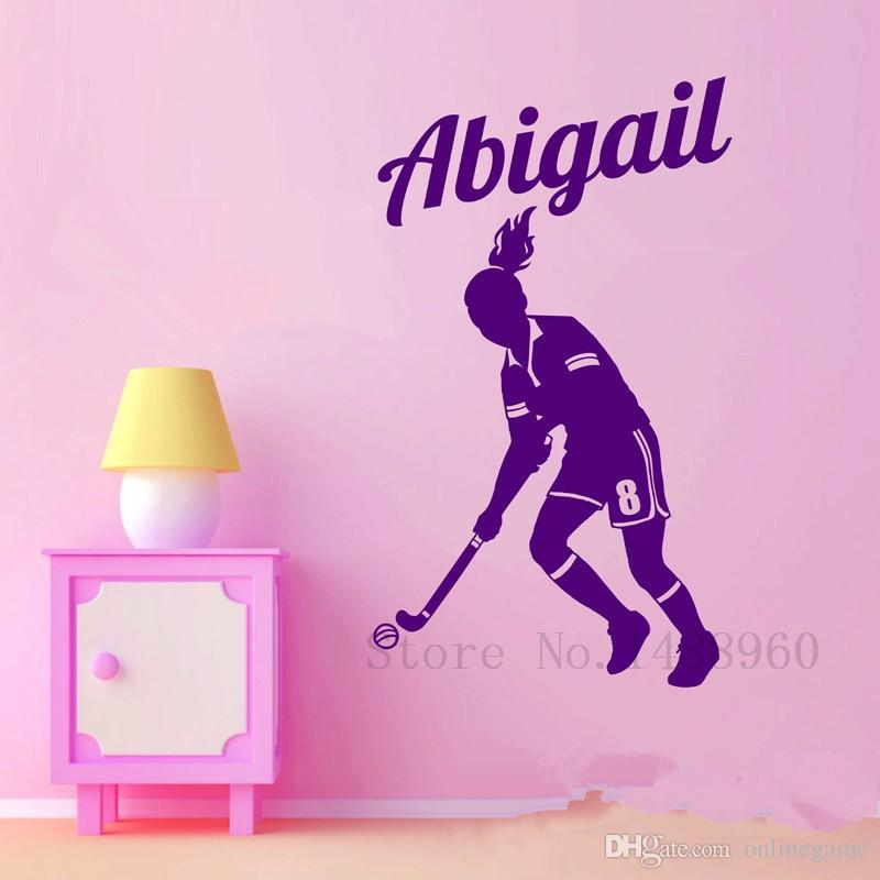 Wall Stickers Home decor DIY poster Decal mural Vinyl Wall Decal Decoration Field Hockey Player Wall Custom Girl Name 43*56 cm