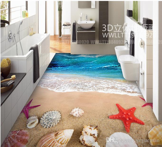 3D обои пол фрески индивидуальные 3D стереоскопический обои для гостиной морских волн, раковин 3д плитка