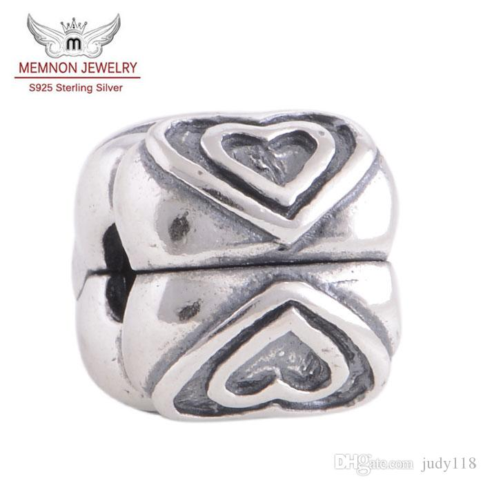 Memnon Jewery 925 Sterling Silver hearts Stopper Clips love Lock Clip Beads charms For DIY Jewelry Making Fit Women Charm Bracelets KT0159