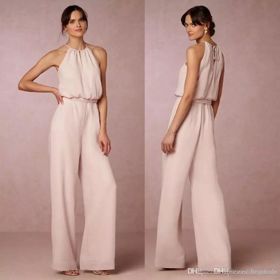 Cheap Blush Pink Chiffon Jumpsuits Bridesmaid Dresses 2017 Halter
