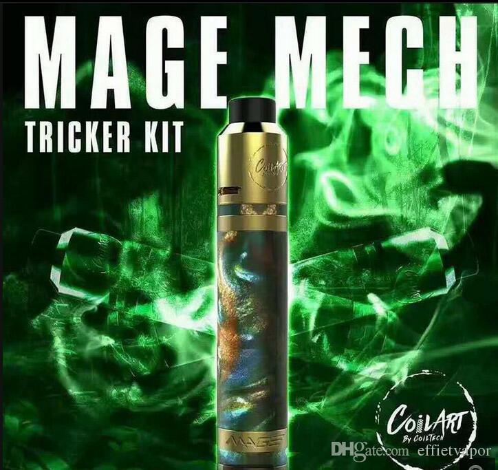 High quality clone CoilArt Mage Mech Tricker Kit Airflow Tank 18650 Mechanical Mod 24K Gold Plated Deck Coil Art Kit