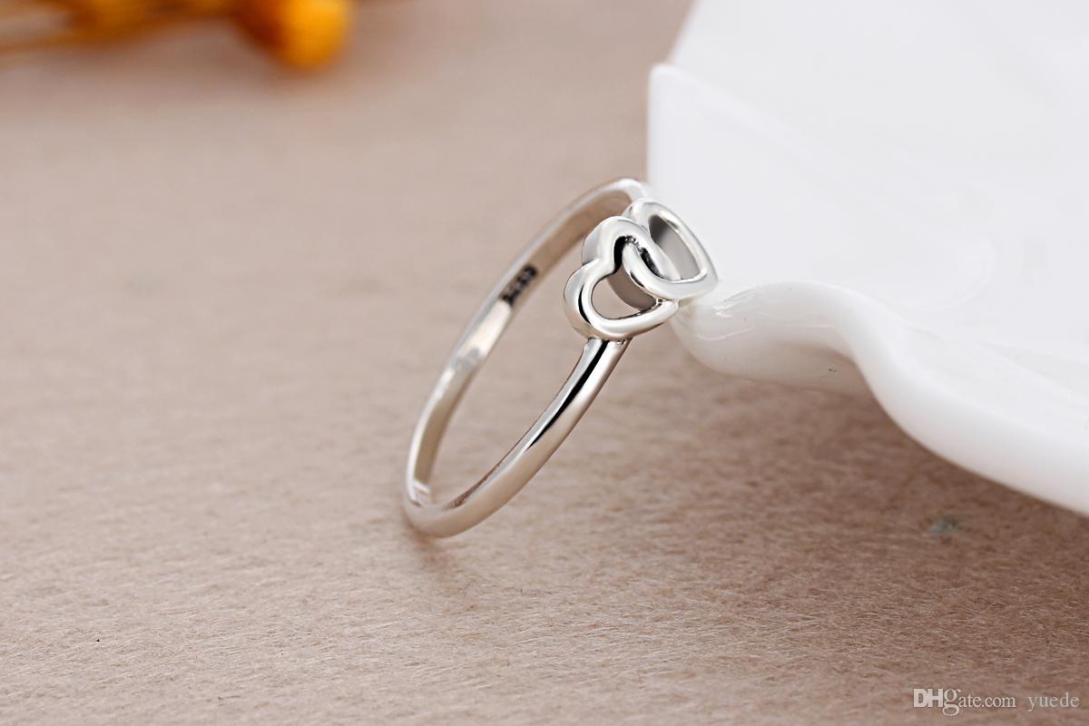 الجملة 925 الفضة الحلو الحب المنسوجة خواتم حلقة صالح مجوهرات باندورا زركون الذكرى للنساء هدية عيد