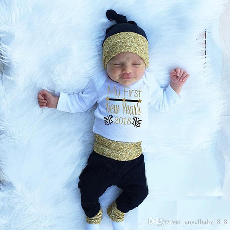 귀여운 아기 장난 꾸러기 세트 나의 첫 새해 소녀 소년 장난 꾸러기 + 바지 + 모자 세트 정장면 긴 소매 의상 화이트