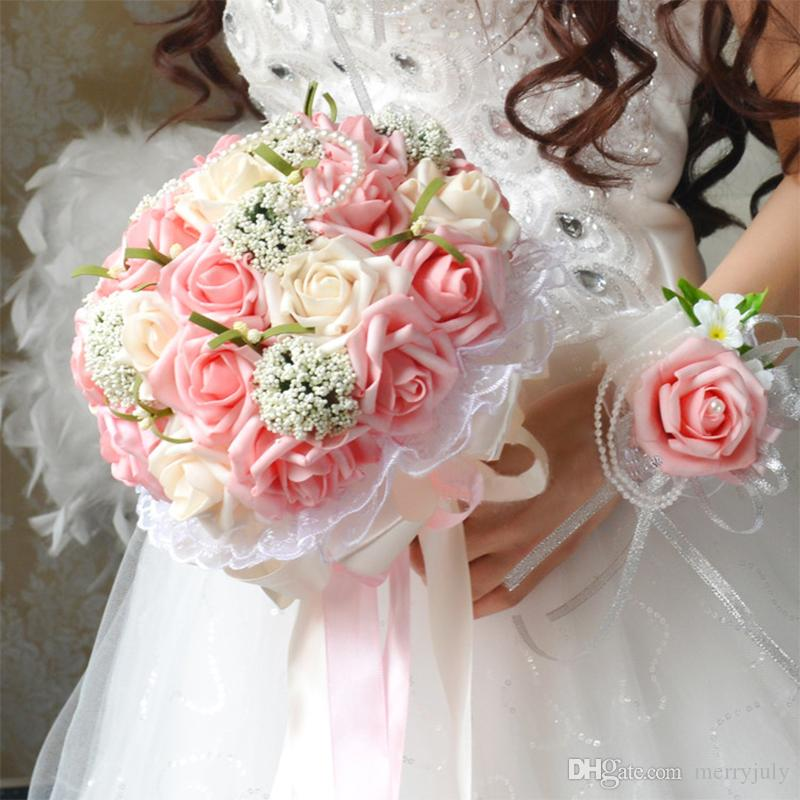 2017 Pink Bridal Bouquet Flowers With Hand Made Flowers