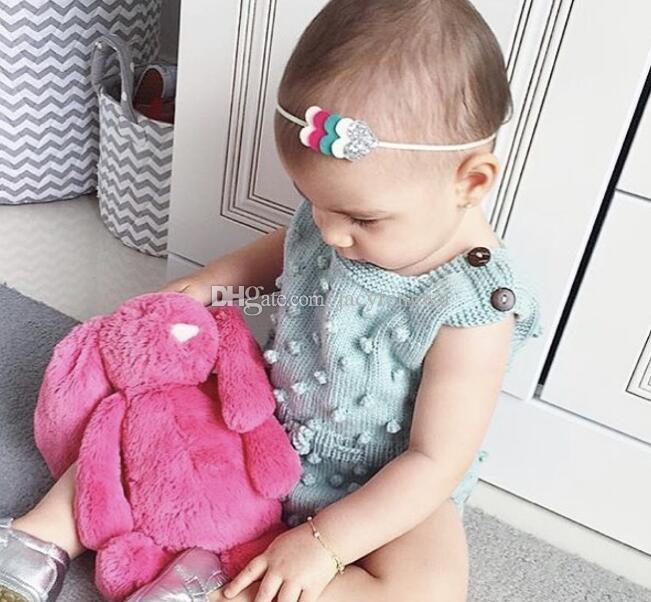 Новорожденный Детская одежда осень малыш девочка одежда оборками Принцесса девушка сладкий трикотажные комбинезоны младенческой ползунки дети жилет BB021