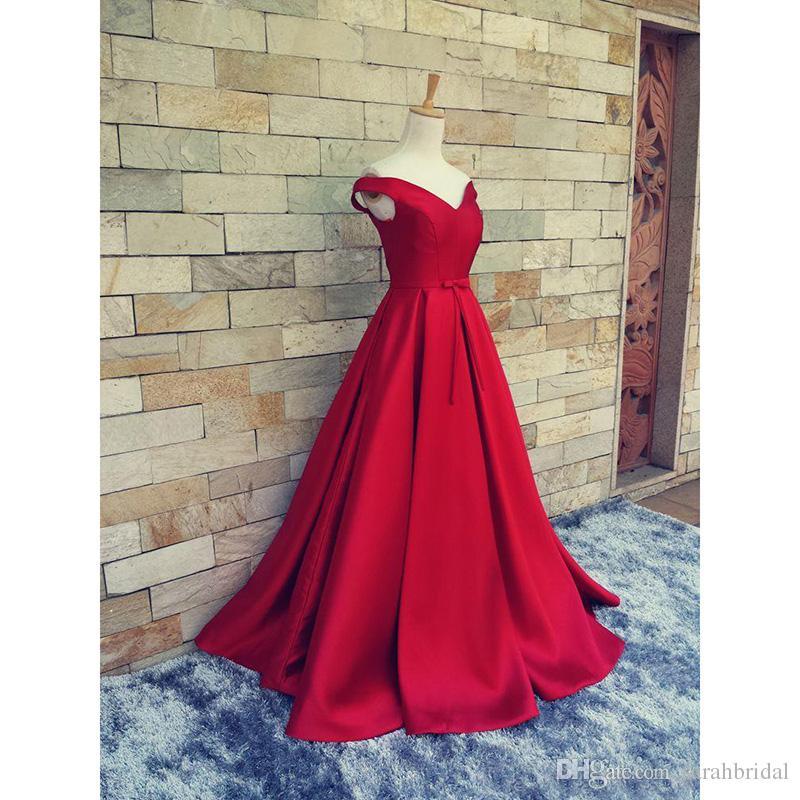 2019 abiti da sera rossi a-line le donne formali arabe scollo a V Celebrità occasione vendita economici lungo raso a maniche lunghe abito da promenade del partito XG